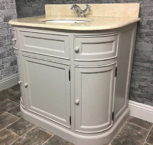 Bespoke Single Vanity Unit with Curved Sides